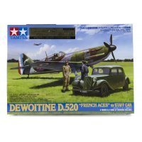 Tamiya 1/48 Dewoitine D.520 French Aces Fighter w/ Staff Car Scaled Plastic Model Kit