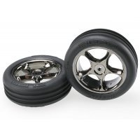"""Traxxas 2.2"""" Bandit Front Ribbed Tyres on Black Chrome Tracer Rims - Glued Wheels 2Pcs"""