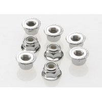 Traxxas 4mm Flanged Nyloc Serrated Nuts 8Pcs