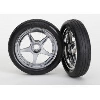 "Traxxas 1.9"" Drag Tyres on Chrome 5 - Spoke Rims - Glued Wheels 2Pcs"