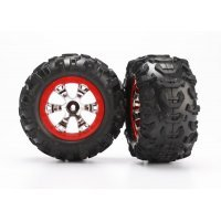 """Traxxas 2.2"""" Canyon AT Tyres on Chrome Red Rims - Glued Wheels 2Pcs"""