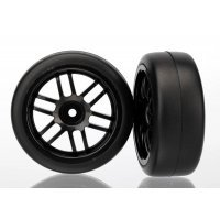 "Traxxas 1.9"" Gymkhana Slick Tyres on Black Rims - Glued Wheels 2Pcs"