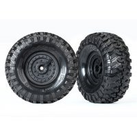 "Traxxas 1.9"" Canyon Trail Tyres on Tactical Black Rims - Glued Wheels 2Pcs"