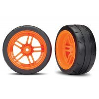 "Traxxas 1.9"" Response Slick Tyres on Split-Spoke Orange Rims - Glued Wheels 2Pcs"