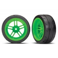 "Traxxas 1.9"" Response Slick Tyres on Split-Spoke Green Rims - Glued Wheels 2Pcs"