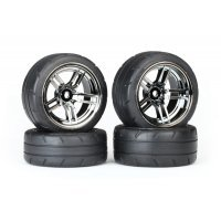 "Traxxas 1.9"" Response Tyres on Split-Spoke Black Chome Rims - Glued Wheels 4Pcs"