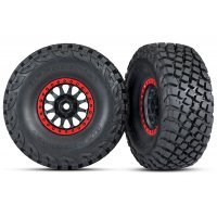 "Traxxas 2.2/3.2"" BFGoodrich Baja KR3 Tyres on Method Racing Black/Red Rims - Glued Wheels 2Pcs"