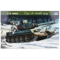 Trumpeter 1/16 Soviet 1942 T-34/76 Model Tank Scaled Plastic Model Kit