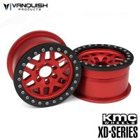 "Vanquish Red Aluminium 1.9"" MKC XD229 Rims 2Pcs w/ Black Beadlock Rings"