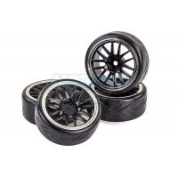 "Vision RC 1.9"" V-Pattern Drift Tyres on Spoke Black Rims - Glued Wheels 4Pcs"
