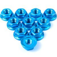 Yeah Racing  4mm Blue Aluminium Flanged Serrated Nuts 10Pcs