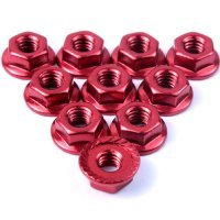 Yeah Racing  4mm Red Aluminium Flanged Serrated Nuts 10Pcs