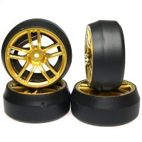 "Yeah Racing 1.9"" (+3mm Off-Set) Spec D Drift Tyres on Gold Spoke Rims - Wheels 4Pcs"