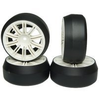 "Yeah Racing 1.9"" (+3mm Off-Set) Spec D Drift Tyres on White Rims - Wheels 4Pcs"