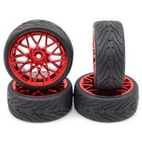 "Yeah Racing 1.9"" (+3mm Off-Set) Spec T On-Road Tyres on Red  Mesh Rims - Wheels 4Pcs"
