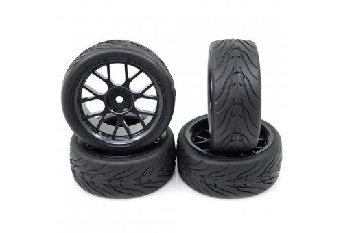 "Yeah Racing 1.9"" (+3mm Off-Set) Spec T On-Road Tyres on Black Rims - Wheels 4Pcs"