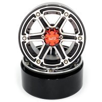 "Yeah Racing Black/Silver Aluminium 2.2"" 6 Spoke Beadlock Rims 2Pcs w/ Black 12mm Hex Hub"
