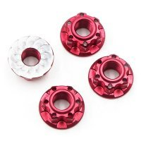Yeah Racing 4mm Red Aluminium Flanged Serrated Nuts 4Pcs