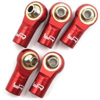Yeah Racing Red Aluminium M3 Threaded (Counter Clockwise) Rod Ends 5Pcs