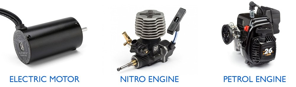electric motor - nitro engine - petrol engine